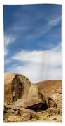 Rocks, Mountains And Sky At Alabama Hills, The Mobius Arch Loop  Bath Towel