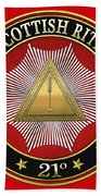 21st Degree - Noachite Or Prussian Knight Jewel On Red Leather Bath Towel