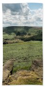 Beautiful Vibrant Landscape Image Of Burbage Edge And Rocks In S Bath Towel