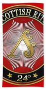 24th Degree - Prince Of The Tabernacle Jewel On Red Leather Bath Towel