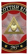 26th Degree - Prince Of Mercy Or Scottish Trinitarian Jewel On Red Leather Bath Towel
