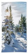 Amazing Landscape With Frozen Snow-covered Trees In Winter Morning  Bath Towel