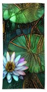 Jeweled Water Lilies Bath Towel