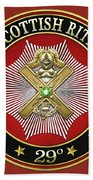 29th Degree - Scottish Knight Of Saint Andrew Jewel On Red Leather Bath Towel