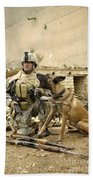A Dog Handler And His Military Working Bath Towel