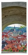 A View Of Cesky Krumlov In The Czech Republic Bath Towel