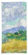 A Wheatfield With Cypresses Bath Towel