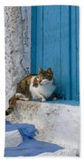 Cat In A Doorway, Greece Bath Towel