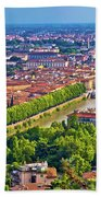 City Of Verona Old Center And Adige River Aerial Panoramic View Bath Towel
