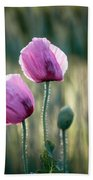 Lilac Poppy Flowers Bath Towel