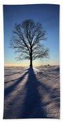 Lone Tree In Snow Bath Towel