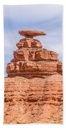 Mexican Hat Rock Monument Landscape On Sunny Day Bath Towel