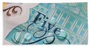 New Uk Five Pound Note Bath Towel