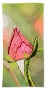 Red Garden Rose Bud Bath Towel