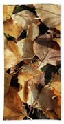 Silver Birch Leaves Lying On A Brick Path In A Cheshire Garden On An Autumn Day   England Bath Towel