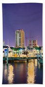 St Petersburg Florida City Skyline And Waterfront At Night Bath Towel