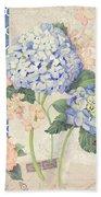 Summer Memories - Blue Hydrangea N Butterflies Bath Towel