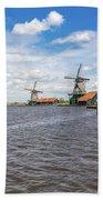 Traditional Dutch Windmills At Zaanse Schans, Amsterdam Bath Towel