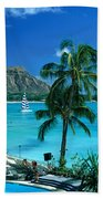 Waikiki And Diamond Head Bath Towel