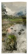 Watercolor Painting Of Beautiful Autumn Fall Landscape Image Of  Bath Towel