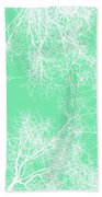White Silhouetted Trees  Bath Towel