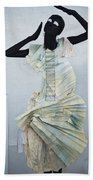 Woman With Black Boby Paint In Paper Dress Bath Towel