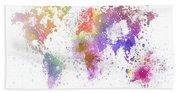World Map Painting Bath Towel
