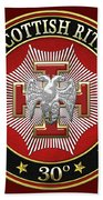 30th Degree - Knight Kadosh Jewel On Red Leather Bath Towel
