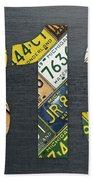 313 Area Code Detroit Michigan Recycled Vintage License Plate Art Bath Towel