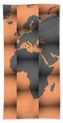 3d World Map Composition Bath Towel