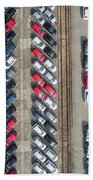 Aerial View Lot Of Vehicles On Parking For New Car. Bath Towel