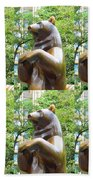 Bronze Statue Sculpture Of Bear Clapping Fineart Photography From Newyork Museum Usa Fineartamerica Bath Towel