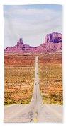 descending into Monument Valley at Utah  Arizona border  Bath Towel