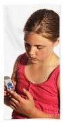 Diabetic Child With Blood Glucose Tester Bath Towel