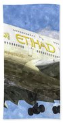 Etihad Airlines Airbus A380 Art Hand Towel
