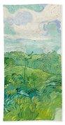 Green Wheat Fields, Auvers Bath Towel