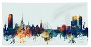 Halmstad Sweden Skyline Bath Towel