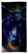 head of mighty brown bear, oil painting on canvas and graphic collage. Eye contact. Bath Towel