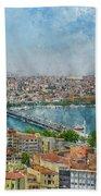 Istanbul Turkey Cityscape Digital Watercolor On Photograph Bath Towel