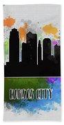 Kansas City Skyline Silhouette Bath Towel