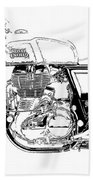 Motorcycle Art, Black And White Bath Towel