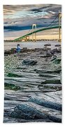 Newport Bridge At Sunset With Dramatic Sky Bath Towel