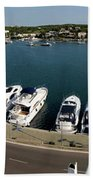 panoramic town 1 - Panorama of Port Mahon Menorca Bath Towel