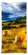 Resting Cows Art Bath Towel