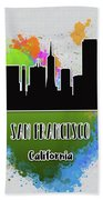 San Francisco Skyline Silhouette Bath Towel