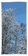 Snowy Trees Against A Blue Sky Bath Towel