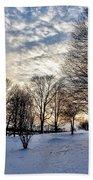 Sunset Over Obear Park In Snow Bath Towel