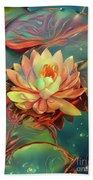 Teal And Peach Waterlilies Bath Towel