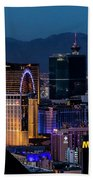 the Strip at night, Las Vegas Bath Towel