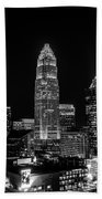 View Of Charlotte Skyline Aerial At Sunset Bath Towel